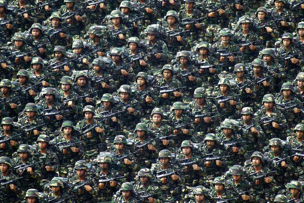 Malaysian armies march during Independence day celebration in Putrajaya, Malaysia.