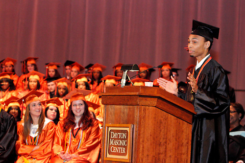 Senior Travis Waller speaks during the Stivers School For The Arts commencement at the Dayton Masonic Center, Saturday, May 19, 2012.