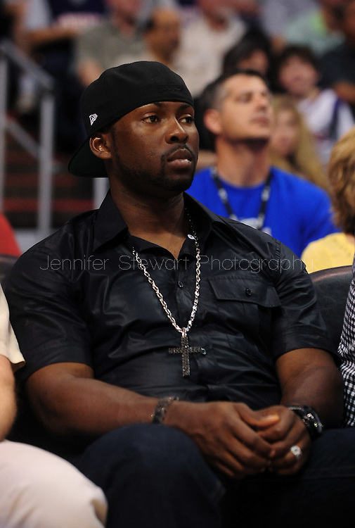 Mar. 16 2010; Phoenix, AZ, USA; Seattle Mariners Milton Bradley sits court side at the NBA game at the US Airways Center.  The Suns defeat the Timberwolves 152-114. Mandatory Credit: Jennifer Stewart-US PRESSWIRE.
