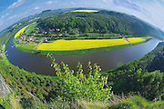Panoramic view to Saxon Switzerland from Bastei, Rathen, Germany.