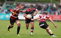 Jason Harris-Wright of Bristol Rugby gets away from Rupert Cooper and Alex O'Meara of Cornish Pirates - Mandatory by-line: Gary Day/JMP - 10/09/2017 - RUGBY - Mennaye Field - Penzance, England - Cornish Pirates v Bristol Rugby - Greene King IPA Championship