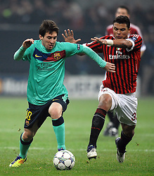 23.11.2011, Giuseppe Meazza Stadion, Mailand, ITA, UEFA CL, Gruppe H, AC Mailand (ITA) vs FC Barcelona (ESP), im Bild Lionel MESSI Barcelona, Tiago SILVA Milan // during the football match of UEFA Champions league, group H, between Gruppe H, AC Mailand (ITA) and FC Barcelona (ESP) at Giuseppe Meazza Stadium, Milan, Italy on 2011/11/23. EXPA Pictures © 2011, PhotoCredit: EXPA/ Insidefoto/ Andrea Staccioli..***** ATTENTION - for AUT, SLO, CRO, SRB, SUI and SWE only *****