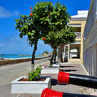 Cannons on Front Street in Cockburn Town, Grand Turk, Turks and Caicos Islands<br />