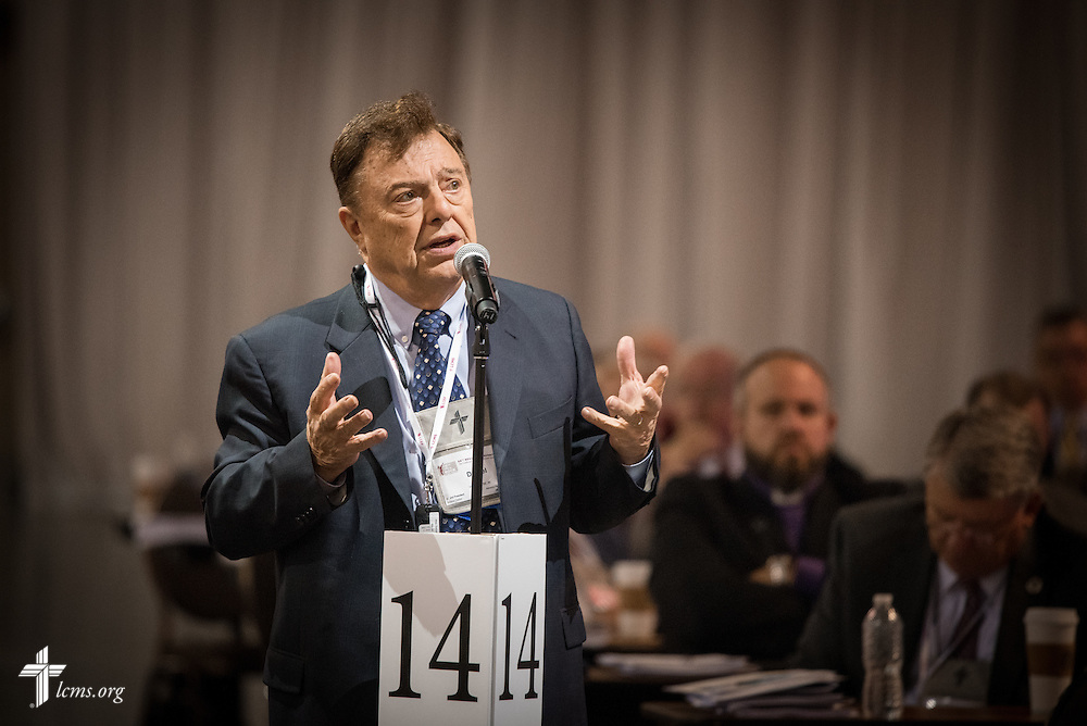 The Rev. Dr. Daniel May, president of the LCMS Indiana District, speaks Wednesday, July 13, 2016, at the 66th Regular Convention of The Lutheran Church–Missouri Synod, in Milwaukee. LCMS/Frank Kohn