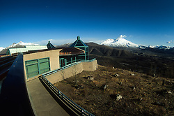 Coldwater Ridge Visitor Center and Steam Eruption at Mt. St. Helens, Mt. St. Helens National Volcanic Monument, Washington, US, April 19, 2005
