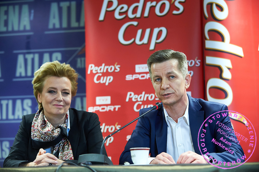 Krzysztof Klimczak - President of Board Strauss Cafe Polska during press conference one day before athletics meeting Pedro's Cup at Atlas Arena in Lodz, Poland.<br /> <br /> Poland, Lodz, February 16, 2015<br /> <br /> Picture also available in RAW (NEF) or TIFF format on special request.<br /> <br /> For editorial use only. Any commercial or promotional use requires permission.<br /> <br /> Adam Nurkiewicz declares that he has no rights to the image of people at the photographs of his authorship.<br /> <br /> Mandatory credit:<br /> Photo by &copy; Adam Nurkiewicz / Mediasport