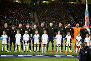 Scotland line up for the National Anthems before the UEFA Nations League match between Scotland and Israel at Hampden Park, Glasgow, United Kingdom on 20 November 2018.