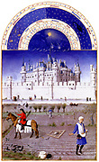 'The Très Riches Heures du Duc de Berry Is a French Gothic illuminated manuscript. The Très Riches Heures is a prayer book created for John, Duke of Berry, by the Limbourg brothers between 1412 and 1416. The book was completed by Jean Colombe between 1485 and 1489. The manuscript is held at the Musée Condé, Chantilly, France. this folio (October)shows a peasant sowing. On the left, a peasant on horseback tows a the harrow'