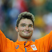 Track Cycling - Olympics: Day 11<br /> Matthijs Buchli of The Netherlands on the podium after his silver medal ride in the Men's Keirin during the track cycling competition at the Rio Olympic Velodrome August 16, 2016 in Rio de Janeiro, Brazil. (Photo by Tim Clayton/Corbis via Getty Images)