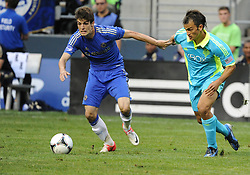 July 18, 2012: CenturyLink Field, Seattle, WA: Chelsea FC midfielder Lucas Piazon battles Sounders Patrick Ianni at the World Football Challenge. Chelsea FC defeated the Seattle Sounders 4-2.