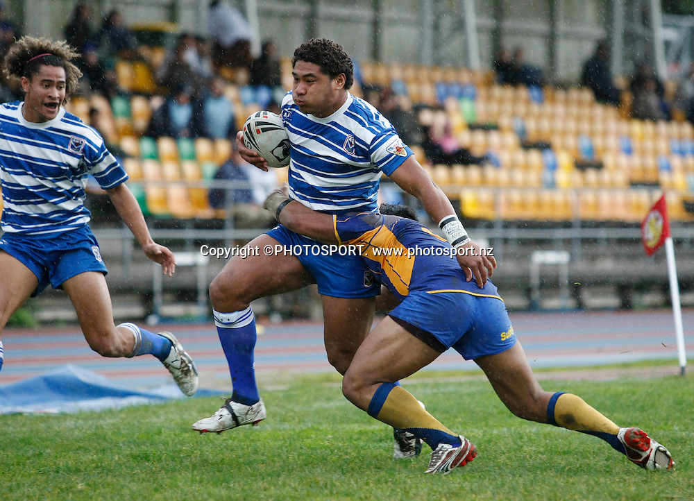 Auckland's Sione Tongia looses the ball over the try line. NZ Rugby League. Auckland v Bay of Plenty, Mt Smart Stadium No2 ground. Sunday 24 August 2008. Auckland won 70-0. Photo: Simon Watts/PHOTOSPORT