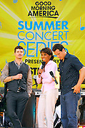 "Singer Robin Thicke, Robin Roberts and Chris Cuomo appear at the 2007 ""Good Morning America"" Summer Concert Series in Bryant Park on Friday, June 8, 2007 in New York."