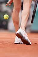 Paris, France - 2017 June 03: Agnieszka Radwanska from Poland serves during her women's single match third round  during tennis Grand Slam tournament The French Open 2017 (also called Roland Garros) at Stade Roland Garros on June 03, 2017 in Paris, France.<br /> <br /> Mandatory credit:<br /> Photo by © Adam Nurkiewicz<br /> <br /> Adam Nurkiewicz declares that he has no rights to the image of people at the photographs of his authorship.<br /> <br /> Picture also available in RAW (NEF) or TIFF format on special request.<br /> <br /> Any editorial, commercial or promotional use requires written permission from the author of image.