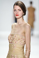 Magdalena Langrova walks down runway for F2012 Tadashi Shoji's collection in Mercedes Benz fashion week in New York on Feb 9, 2012 NYC