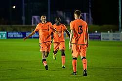 LEYLAND, ENGLAND - Friday, September 1, 2017: Liverpool's George Johnston [#3] celebrates with Yan Dhanda [L] and Bobby Adekanye [R] after scoring the winning penalty in the shoot-out during the Lancashire Senior Cup Final match between Fleetwood Town and Liverpool Under-23's at the County Ground. (Pic by Propaganda)