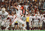 COLLEGE FOOTBALL:  Jason Palumbis #12,  Stanford vs Cal in the Big Game played on November 17, 1990 at Memorial Stadium in Berkeley, California.  Photography by David Madison (www.davidmadison.com).