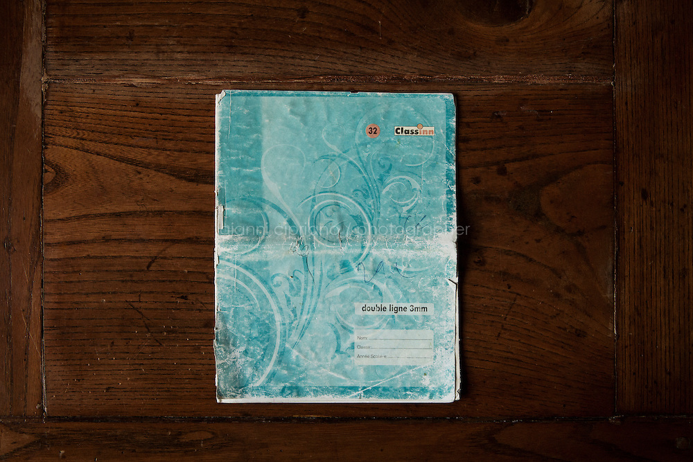 SAN CASCIANO VAL DI PESA, ITALY - 18 JUNE 2014: The second notebook used by Mariasandra Mariani (56) during her 14-months captivity with al-Quaeda in the Islamic Maghreb, is here on a table at her family farm house in San Casciano Val di Pesa, Italy, on June 18th 2014.<br /> <br /> Mariasandra Mariani is an Italian hostage kidnapped by al-Qaeda in the Islamic Maghreb (AQIM) in Algeria in 2011 and released in Burkina Faso after 14 months in captivity in the Sahara desert.