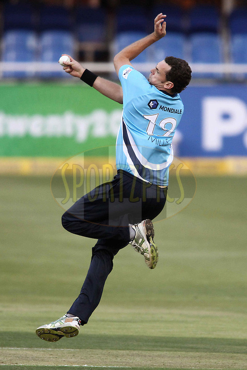 Kyle Mills of the Auckland Aces sends down a delivery during 2nd Qualifying match of the Karbonn Smart CLT20 South Africa between Auckland Aces and Sialkot Stallions held at The Wanderers Stadium in Johannesburg, South Africa on the 9th October 2012..Photo by Shaun Roy/SPORTZPICS/CLT20