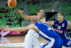 Dusan Kecman of Partizan vs Gintaras Kadziulis of Buducnost during first semi-final match of Basketball NLB League at Final four tournament between KK Partizan Belgrade, Serbia and KK Buducnost Podgorica, Montenegro, on April 19, 2011 in Arena Stozice, Ljubljana, Slovenia. (Photo By Vid Ponikvar / Sportida.com)