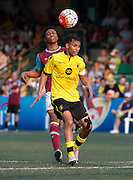 HKFC Citibank Soccer sevens Cup final Aston Villa vs West Ham United. Aston Villa take the cup. Aston Villas's KHALID ABDO (L) heads the ball.