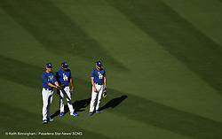 October 24, 2017 - Los Angeles, California, U.S. - Los Angeles Dodgers Rich Hill, left, with Curtis Granderson and Logan Forsythe during batting practice prior to game one of a World Series baseball game against the Houston Astros at Dodger Stadium on Tuesday, Oct. 24, 2017 in Los Angeles. (Photo by Keith Birmingham, Pasadena Star-News/SCNG) (Credit Image: © San Gabriel Valley Tribune via ZUMA Wire)