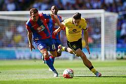 Jack Grealish of Aston Villa under pressure from James McArthur of Crystal Palace - Mandatory byline: Jason Brown/JMP - 07966386802 - 22/08/2015 - FOOTBALL - London - Selhurst Park - Crystal Palace v Aston Villa - Barclays Premier League