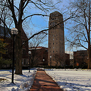 """""""One Forty Six""""<br /> <br /> A lovely wintertime view on the central campus of the University of Michigan. The beautiful Burton Memorial Tower clock reads 1:46. Hence the title of this image!!<br /> <br /> Architecture: Structures, buildings, and their details by Rachel Cohen"""