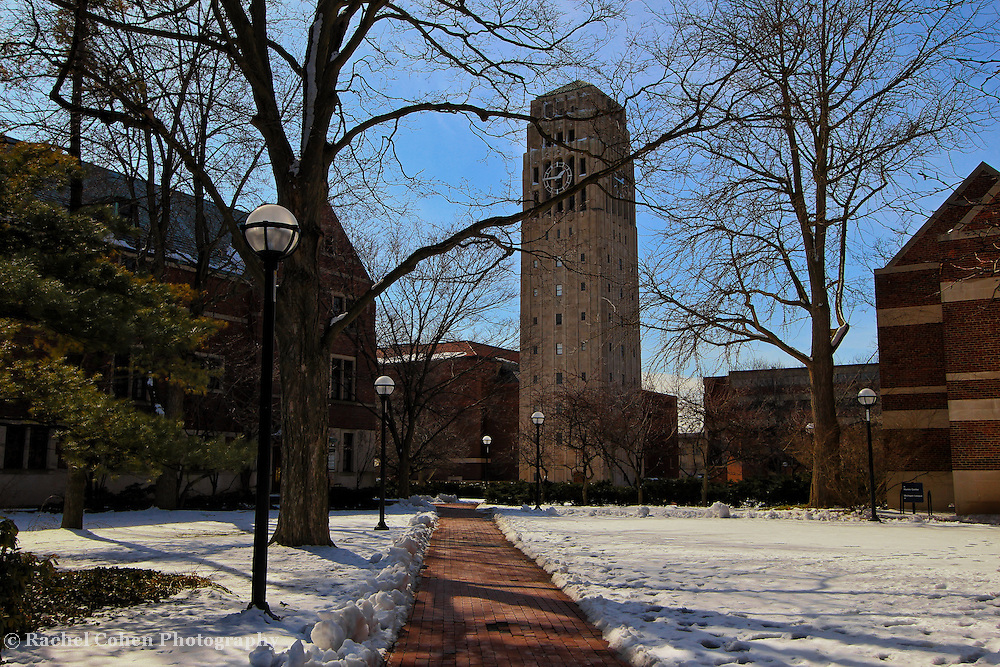 &quot;One Forty Six&quot;<br /> <br /> A lovely wintertime view on the central campus of the University of Michigan. The beautiful Burton Memorial Tower clock reads 1:46. Hence the title of this image!!<br /> <br /> Architecture: Structures, buildings, and their details by Rachel Cohen