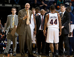 Virginia head coach Dave Leitao argues an referee's foul call. The Virginia Cavaliers men's basketball team defeated the Elon Phoenix 91-61  at the John Paul Jones Arena in Charlottesville, VA on December 22, 2007.