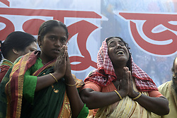November 12, 2016 - Kolkata, West Bengal, India - Victim women from Hazinara join a rally in Kolkata. Hindu Jagran Manch organized a rally from College Street to Rani Rashmoni Avenue for protection of Fundamental rights of Hindu in West Bengal. In recent year place like Hazinagar, Halisahar, Chandannagar, Khargapur in West Bengal several Hindu injured in communal violence. (Credit Image: © Saikat Paul/Pacific Press via ZUMA Wire)