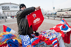 Selling fan's products during handball match between Slovenia and F.Y.R. Macedonia for 5th place at 10th EHF European Handball Championship Serbia 2012, on January 27, 2012 in Beogradska Arena, Belgrade, Serbia.  (Photo By Vid Ponikvar / Sportida.com)