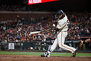 San Francisco Giants shortstop Brandon Crawford (35) makes contact with a Colorado Rockies pitch at AT&T Park in San Francisco, California, on April 14, 2017. (Stan Olszewski/Special to S.F. Examiner)