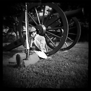 """Confederate sentry resting at Perryville Battle reenactment, 2002. dnads """"Charge to Battle"""""""