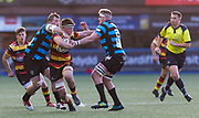Cardiff Arms Park, Cardiff, Wales, UK - Saturday 19th October, 2019.<br /> <br /> Images from the Indigo Welsh Premiership rugby match between Cardiff RFC and Carmarthen Quins RFC. <br /> <br /> Photographer Dan Minto<br /> <br /> mail@danmintophotography.com <br /> www.danmintophotography.com