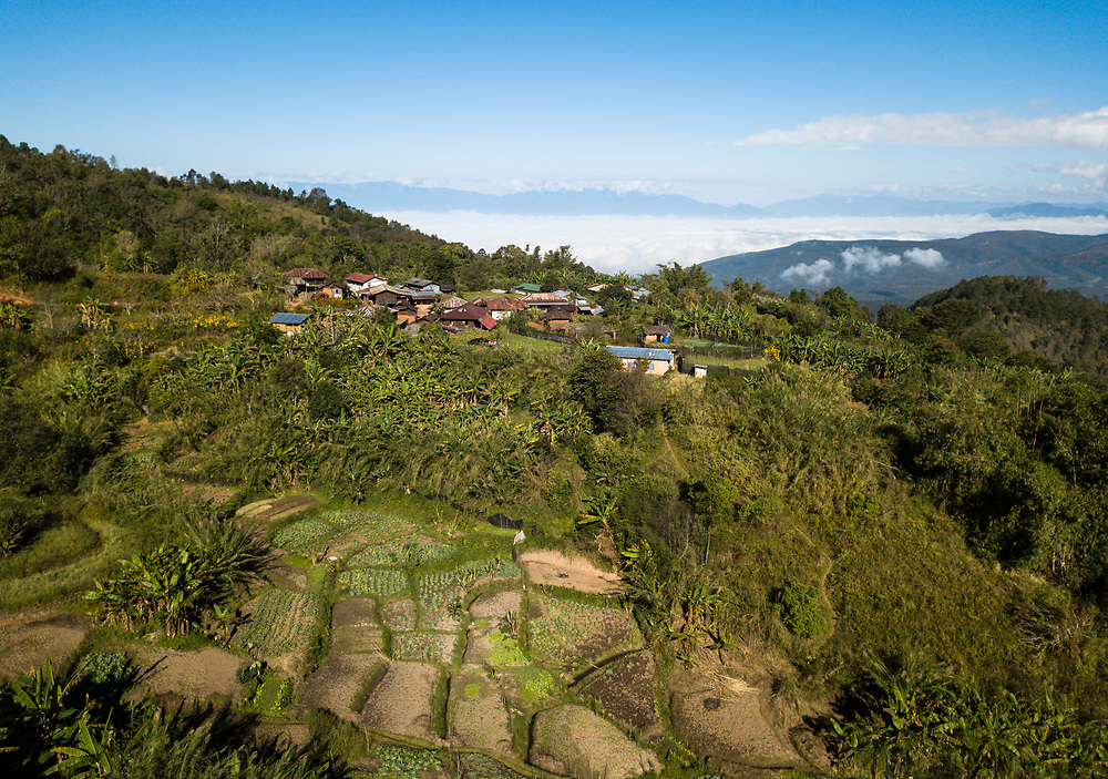 KYAING TONG, MYANMAR - CIRCA DECEMBER 2017:  Aerial view of the Naung Cho Wa Village of  near Kyaing Tong in Myanmar