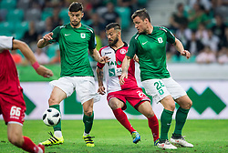 Rok Kronaveter of NK Olimpija, Mitch Apau of Aluminij and Leon Benko of NK Olimpija during football match between NK Aluminij and NK Olimpija Ljubljana in the Final of Slovenian Football Cup 2017/18, on May 30, 2018 in SRC Stozice, Ljubljana, Slovenia. Photo by Vid Ponikvar / Sportida