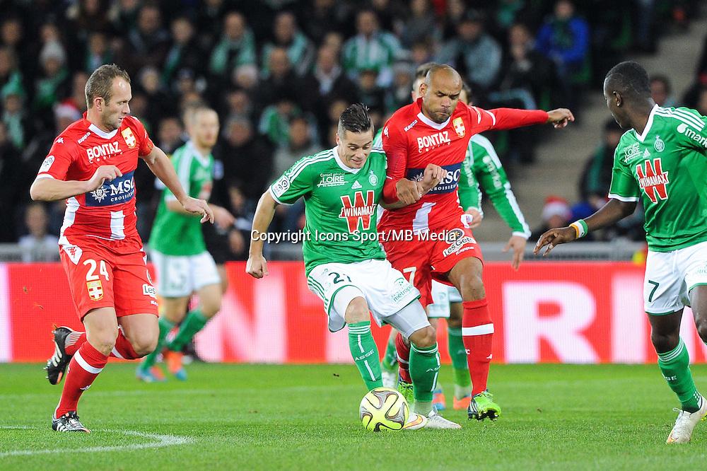 Romain HAMOUNA / Aldo ANGOULA - 21.12.2014 - Saint Etienne / Evian Thonon - 19eme journee de Ligue 1<br />Photo : Jean Paul Thomas / Icon Sport