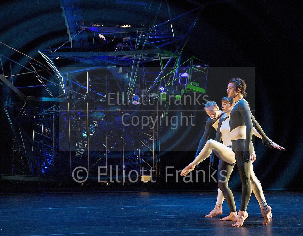 Nearly Ninety<br /> The Merce Cunningham Dance Company <br /> choreography by Merce Cunningham<br /> at The Barbican Theatre, London, Great Britain <br /> rehesrsal <br /> 26th October 2010 <br /> <br /> <br /> <br /> <br /> John Hinrichs<br /> <br /> Jamie Scott<br /> <br /> Silas Riener<br /> <br /> <br /> Photograph by Elliott Franks<br /> 2010&copy;Elliott Franks