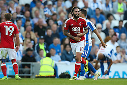 Henri Lansbury of Nottingham Forest jokes with Anthony Knockaert of Brighton & Hove Albion - Mandatory by-line: Jason Brown/JMP - 12/08/2016 - FOOTBALL - Amex Stadium - Brighton, England - Brighton & Hove Albion v Nottingham Forest - Sky Bet Championship
