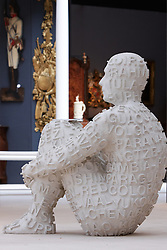 © licensed to London News Pictures. LONDON, UK  08/06/2011. A self portrait sculpture by Jaume Plensa for sale at the Olympia International Fine Art & Antiques Fair. All 30,000 items on sale from 150 dealers are vetted for authenticity by a panel of experts. The show opens in Olympia tomorrow (Thursday) and runs for 11 days. Please see special instructions for usage rates. Photo credit should read CLIFF HIDE/LNP
