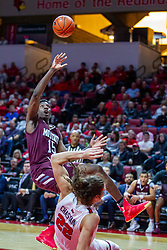 NORMAL, IL - January 07: Lamont West takes a falling shot after running into defender Matt Chastain during a college basketball game between the ISU Redbirds and the University of Missouri State Bears on January 07 2020 at Redbird Arena in Normal, IL. (Photo by Alan Look)