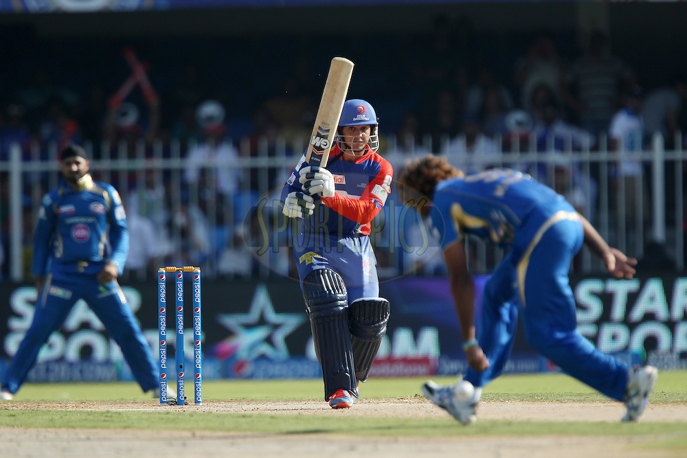 Quinton de Kock of the Delhi Daredevils faces the bowling of Lasith Malinga during match 16 of the Pepsi Indian Premier League 2014 between the Delhi Daredevils and the Mumbai Indians held at the Sharjah Cricket Stadium, Sharjah, United Arab Emirates on the 27th April 2014<br /> <br /> Photo by Ron Gaunt / IPL / SPORTZPICS