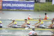 Munich, GERMANY, GBR M8+  right to left,  Mohamed SBIHI, Greg SEARLE, Tom BROADWAY, in the final strokes of the final, bronze medalist mens eights.  2010 FISA World Cup. Munich Olympic Rowing Course, Sunday  20/06/2010   [Mandatory Credit Peter Spurrier/ Intersport Images]