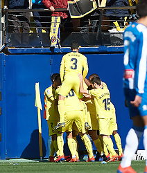 February 3, 2019 - Villarreal, Castellon, Spain - Villarreal players celebrates a goal during the La Liga match between Villarreal and Espanyol at Estadio de la Ceramica on February 3, 2019 in Vila-real, Spain. (Credit Image: © Maria Jose Segovia/NurPhoto via ZUMA Press)