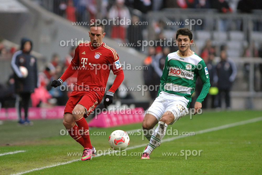 19.01.2013, Allianz Arena, Muenchen, GER, 1. FBL, FC Bayern Muenchen vs SpVgg Greuther Fuerth, 18. Runde, im Bild Links Franck RIBERY (FC Bayern Muenchen), rechts Matthias ZIMMERMANN (SpVgg Greuther Fuerth) // during the German Bundesliga 18th round match between FC Bayern Munich and SpVgg Greuther Fuerth at the Allianz Arena, Munich, Germany on 2013/01/19. EXPA Pictures © 2013, PhotoCredit: EXPA/ Eibner/ Wolfgang Stuetzle..***** ATTENTION - OUT OF GER *****