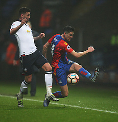 Gary Madine of Bolton Wanderers (L) and Martin Kelly of Crystal Palace in action - Mandatory by-line: Jack Phillips/JMP - 07/01/2017 - FOOTBALL - Macron Stadium - Bolton, England - Bolton Wanderers v Crystal Palace - FA Cup Third Round