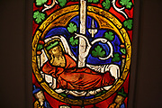 Tree of Jesse Window:  The Reclining Jesse, King David and Scenes from the Life of Jesus.  Pot-metal glass, vitreous paint and lead.  German, Swabia.  Painted 1280-1300.  The book of Isaiah presents Jesse, an ancestor of Jesus, as the root of a great tree.