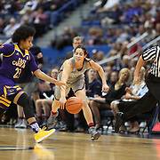 HARTFORD, CONNECTICUT- JANUARY 4: Dominique Claytor #23 of the East Carolina Lady Pirates and Kia Nurse #11 of the Connecticut Huskies challenge for the ball watched by the referee during the UConn Huskies Vs East Carolina Pirates, NCAA Women's Basketball game on January 4th, 2017 at the XL Center, Hartford, Connecticut. (Photo by Tim Clayton/Corbis via Getty Images)