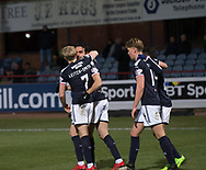 16th December 2017, Dens Park, Dundee, Scotland; Scottish Premier League football, Dundee versus Partick Thistle; Dundee's Sofien Moussa is congratulated after scoring a penalty for 3-0