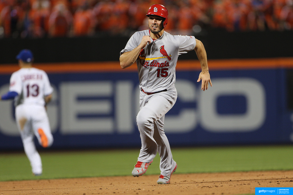 NEW YORK, NEW YORK - July 27: Randal Grichuk #15 of the St. Louis Cardinals scoring a run during the St. Louis Cardinals Vs New York Mets regular season MLB game at Citi Field on July 27, 2016 in New York City. (Photo by Tim Clayton/Corbis via Getty Images)